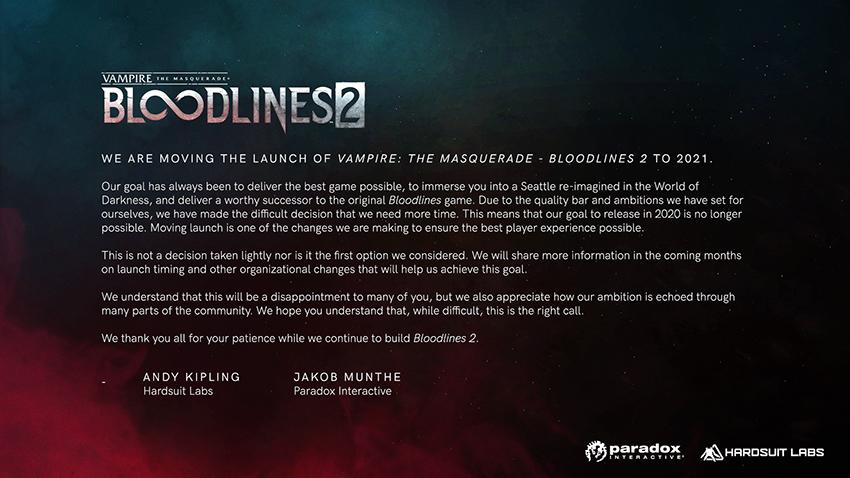 Comunicado de Vampire the Masquerade 2