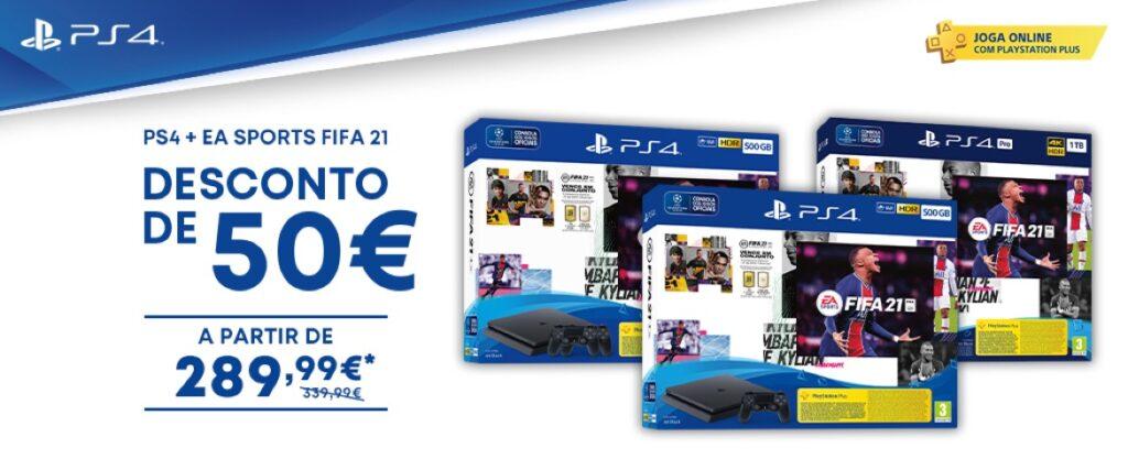 Consolas PS4 com o FIFA 21
